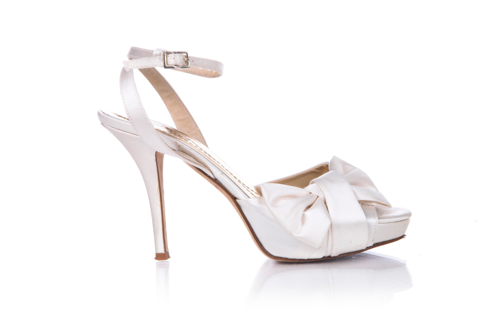 KATE SPADE Heels Size 6 Ivory Satin Wedding Shoes Bow D'Orsay Platform Open Toe