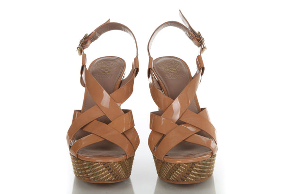 VINCE CAMUTO Wedge Leather Platform Sandals Size 8.5