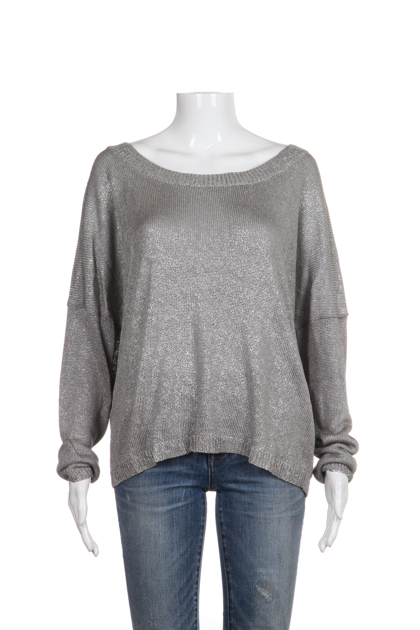 VINCE Sweater Medium Silver Knit Dressy Scoop Neck Long Sleeve Top