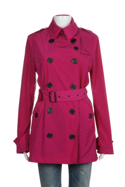 BURBERRY BRIT Trench Coat US 8 ITA 42 UK 10 Fuchsia Pink Collar Jacket W Belt