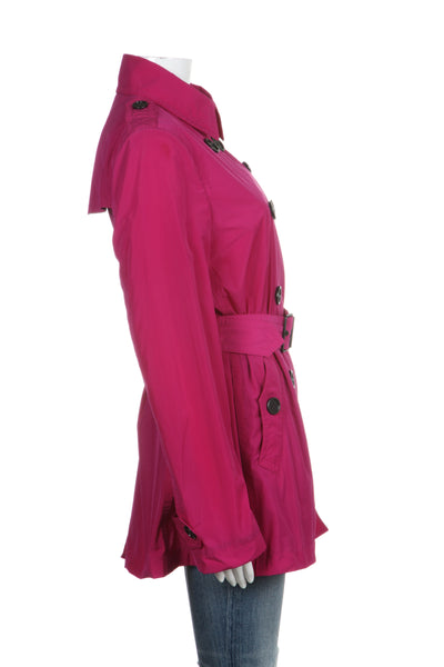 BURBERRY BRIT Trench Coat Fuchsia Pink With Belt Size 8