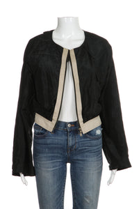 YVES SAINT LAURENT Cropped Bomber Jacket Silk Black Size S