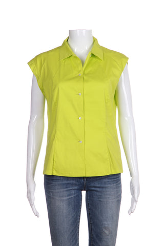 JIL SANDER Lime Green Button Down Blouse Size M