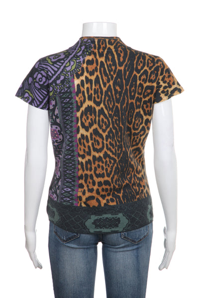 NEIMAN MARCUS Top Cashmere Brown Purple Cheetah Print Short Sleeve Small