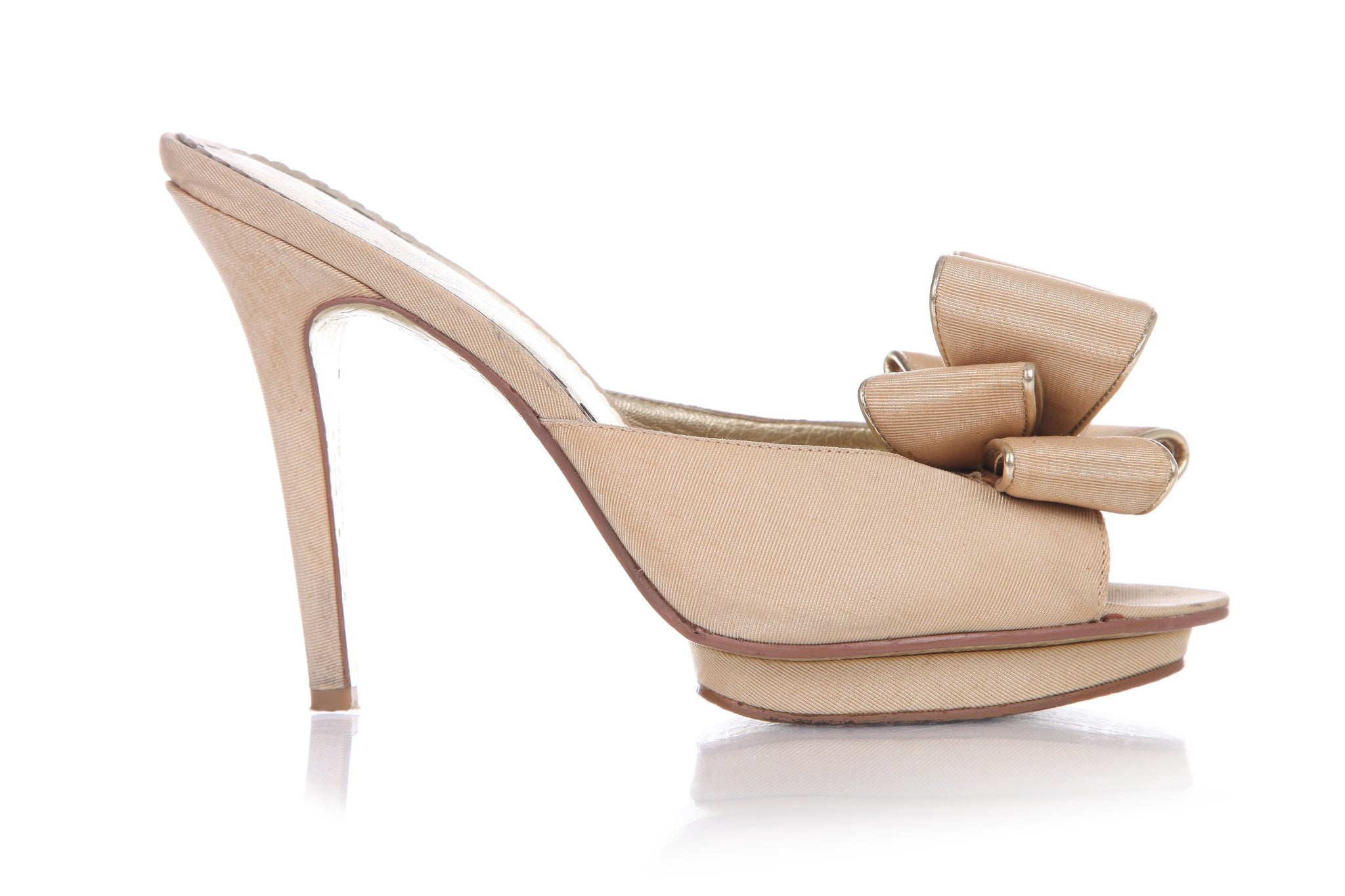 BEVERLY FELDMAN Slip On Heels Nude Gold D'Orsay Bow Platform Pumps Size 9.5