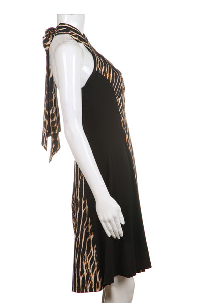 VINCE CAMUTO Dress Black Brown Leopard Cheetah Print Halter Party Cocktail Size 2