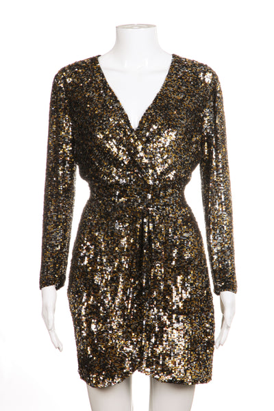 PARKER Dress Gold Silver Sequin Embellished Mini Size S
