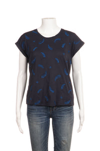 BERENICE Metallic Blue Embroidered Short Sleeve Tee Top Size M