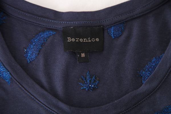 BERENICE Metallic Embroidered Tee Size M