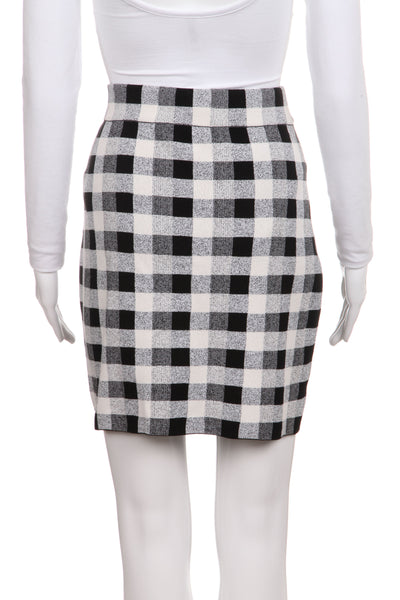 THEORY Black & White Checkered Mini Skirt Size M
