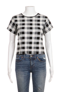 THEORY Cropped Top Black White Check Size M