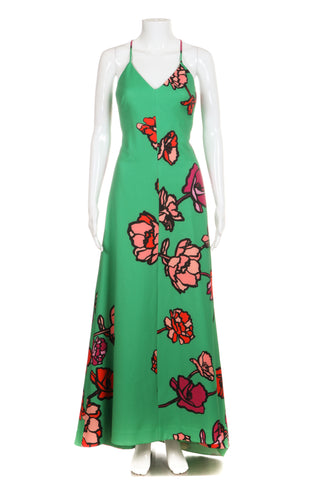 PHOEBE Floral Maxi Gown Size 2 Red Pink Rose Print