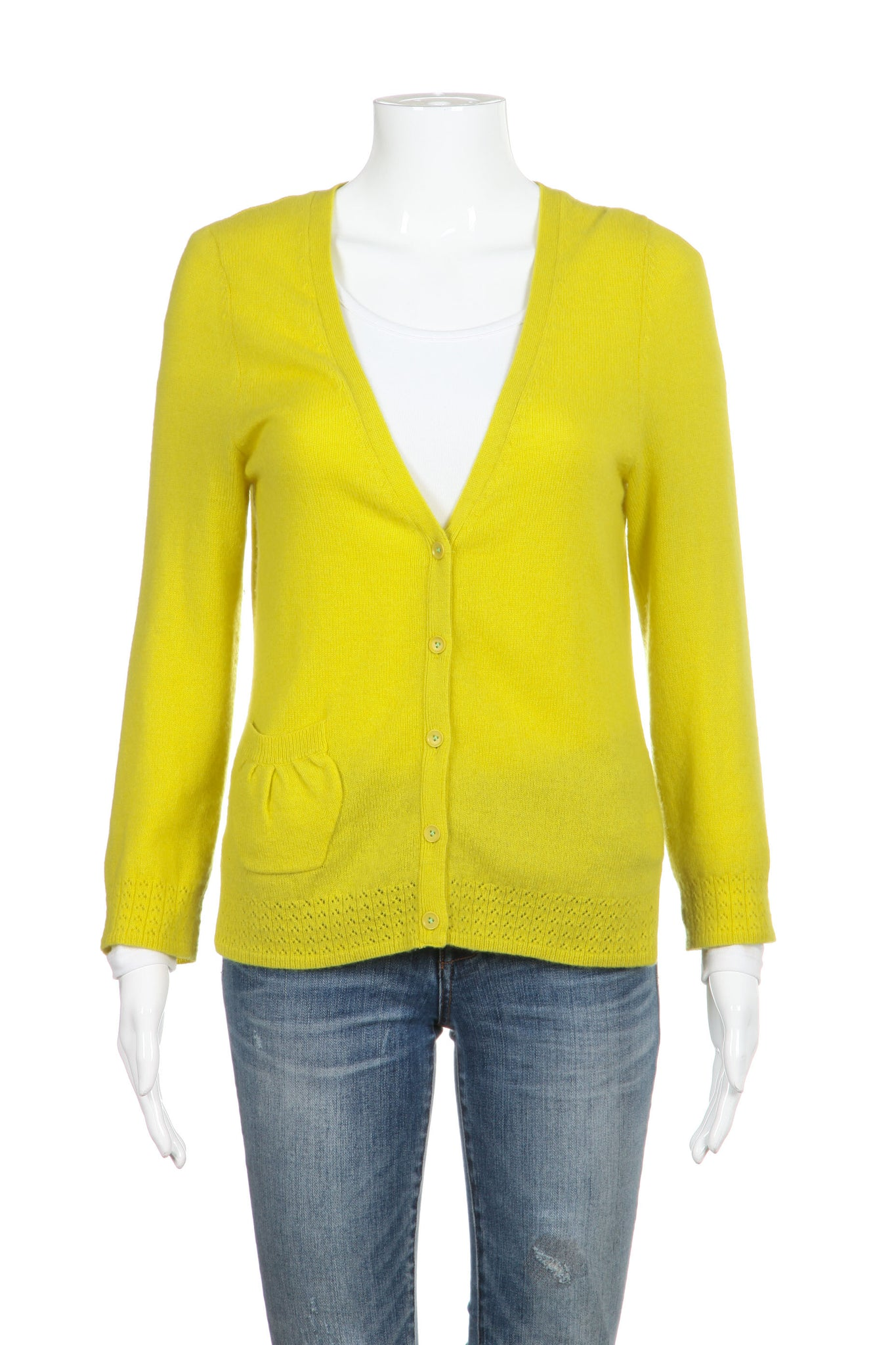 CHARLIE & ROBIN Cardigan Cashmere Yellow Sweater Size M