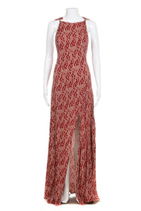 STONE COLD FOX Maxi Dress Red Cream Slit Size 1 Small