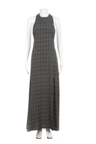 ROE + MAY Maxi Dress Black White Print High Slit Racerback Small