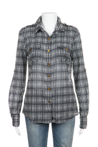 TORY BURCH Plaid Button Up Top Size 8