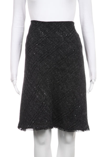 BURBERRY Gray Sequins Fringe Skirt Size 6