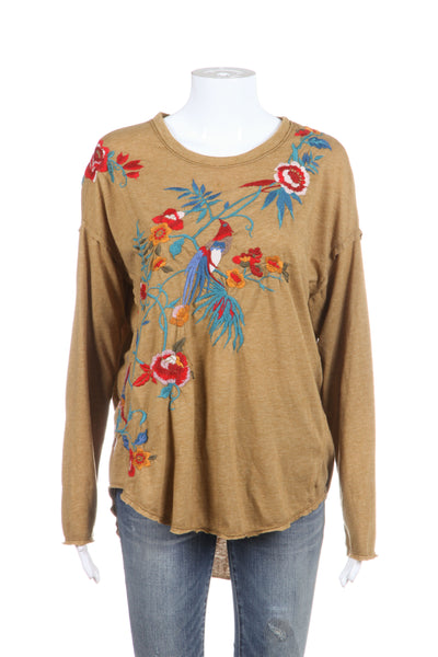JOHHNY WAS LA Top Small Tan Beige Blue Red Floral Embroidered Long Sleeve