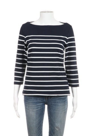J. MCLAUGHLIN Sweater Top Navy Blue White Striped 3/4 Sleeves Small