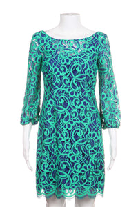 Blue and Green Embroidered Cocktail Dress, Size 0