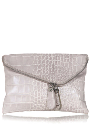 HENRI BENDEL Croc Embossed Leather Clutch