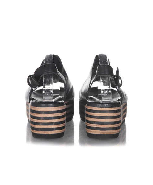 BATA Striped Platform Sandals - back view