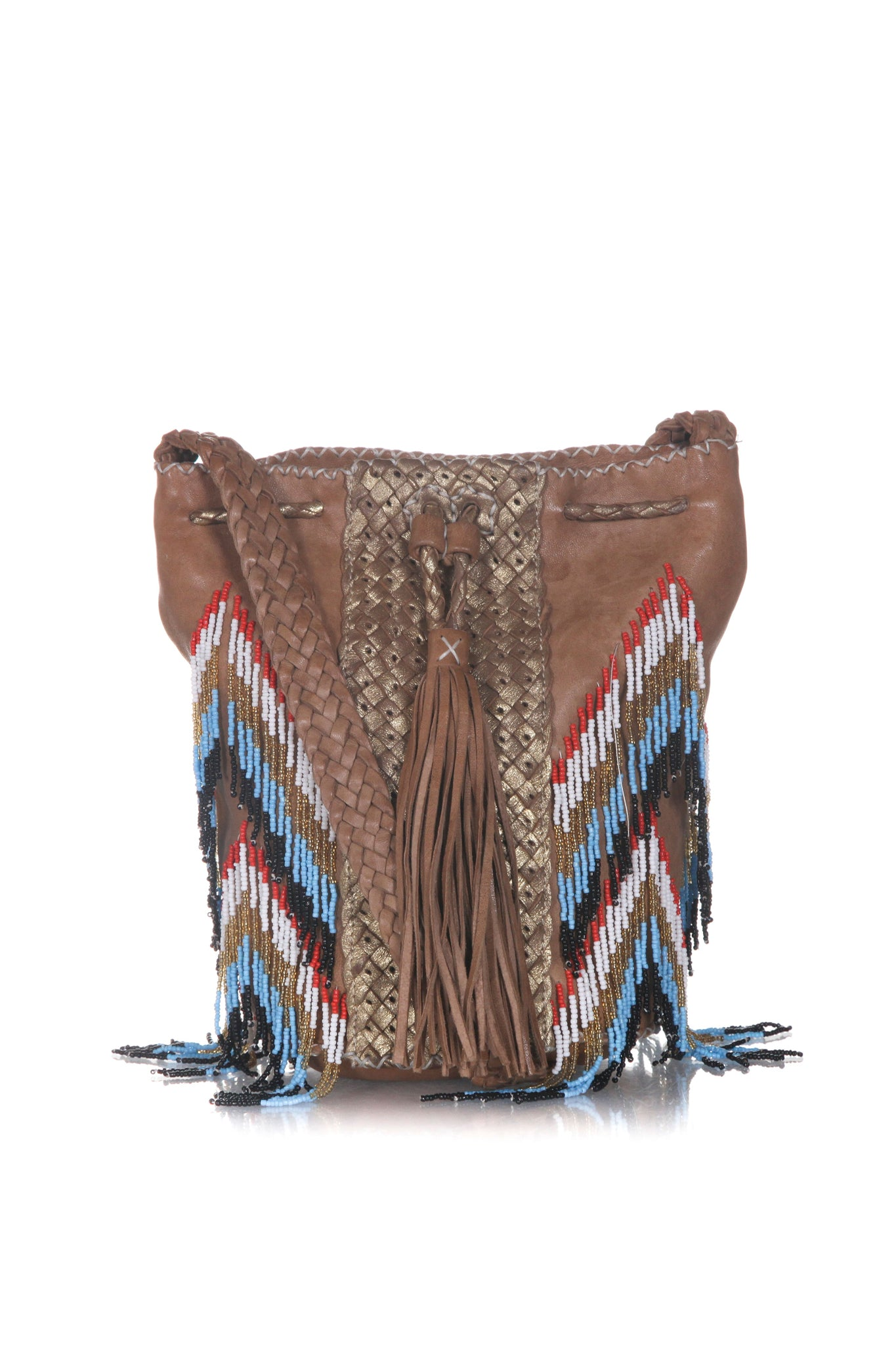 EN SHALLA Beaded Crossbody Bucket Bag