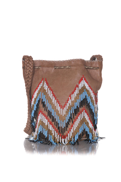 EN SHALLA Beaded Crossbody Bucket Bag - back view
