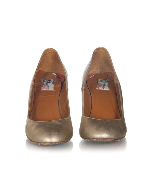 LANVIN Vintage Metallic Wedges - front view