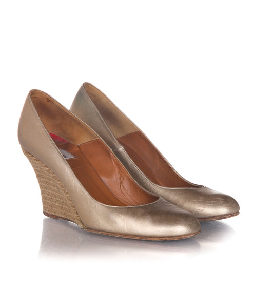 LANVIN Vintage Metallic Wedges - side view