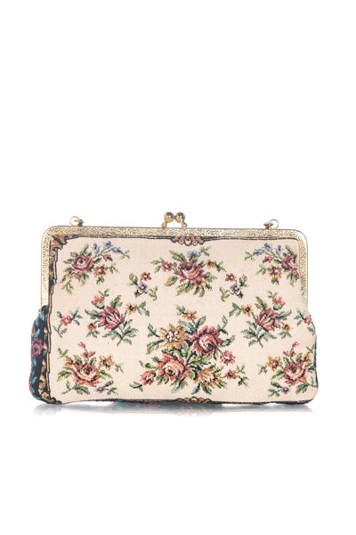 WALBORG Vintage Floral Mini Purse - back view