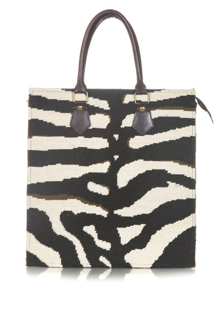 DRANSFIELD & ROSS Vintage Zebra Needlepoint Tote Bag