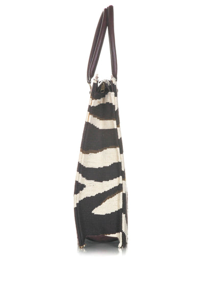 DRANSFIELD & ROSS Vintage Zebra Needlepoint Tote Bag - side view
