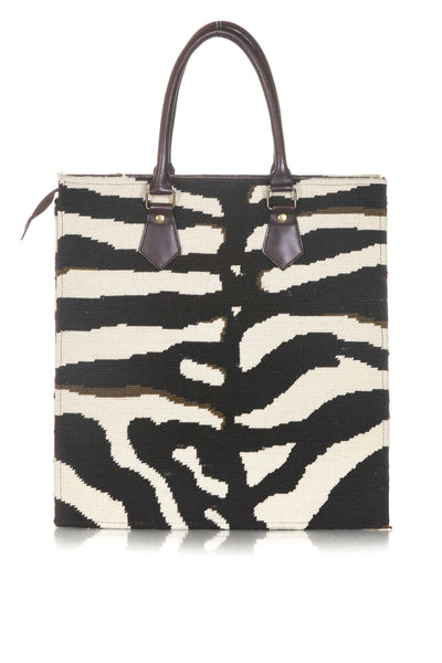 DRANSFIELD & ROSS Vintage Zebra Needlepoint Tote Bag - back view