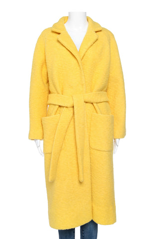 GANNI Wool Blend Fenn Long Wrap Coat