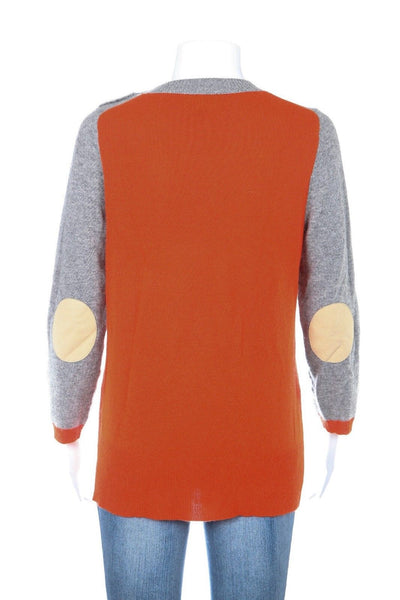 J.CREW Gray Orange Sweater Cashmere Wool Blend Size S