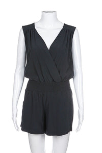 style-hunting COSTA BLANCA SLEEVELESS ROMPER SIZE SMALL BLACK ELASTIC WAIST SHORT DRESSY