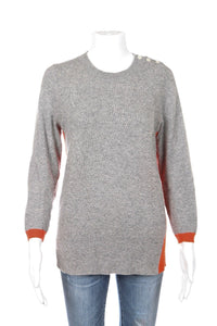 J.CREW SWEATER SMALL GRAY ORANGE WOOL CASHMERE CROP SLEEVE W/ ELBOW PATCH