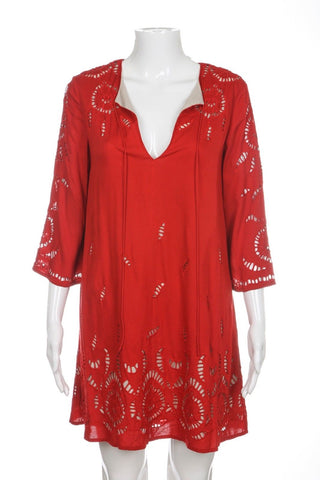 ALICE + OLIVIA Dress XS Red Morgana Crochet Bohemian Embroidered Lace Wedding