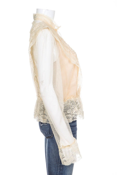 INC INTERNATIONAL CONCEPTS Blouse Lace Boho Ivory Size PP