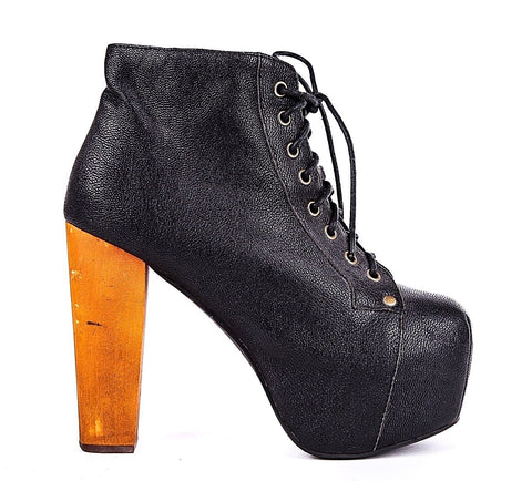 JEFFREY CAMPBELL Boots 8.5 Black Lita Platform Heels High Lace Up