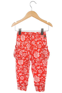 TEA Collection Toddler Cotton Pants Red Floral Legging Jogger Size 12-18M