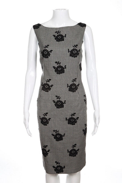 OSCAR DE LA RENTA Dress 6 Black White Gingham Cocktail Gown Lace R14 Sheath