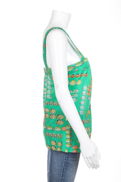 J.CREW Tank Top Pleated Green Fish Print Size 0