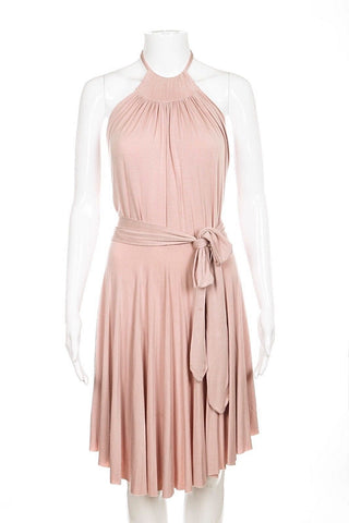 RACHEL PALLY Dress XS Blush Pink Short Halter Stretchy Soft Cocktail Draped
