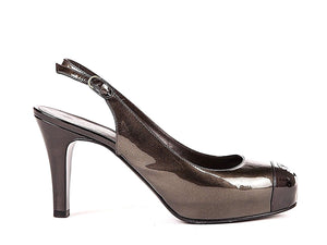 CHANEL Patent Leather Slingback Heels Brown Bronze Color-block Size 37.5
