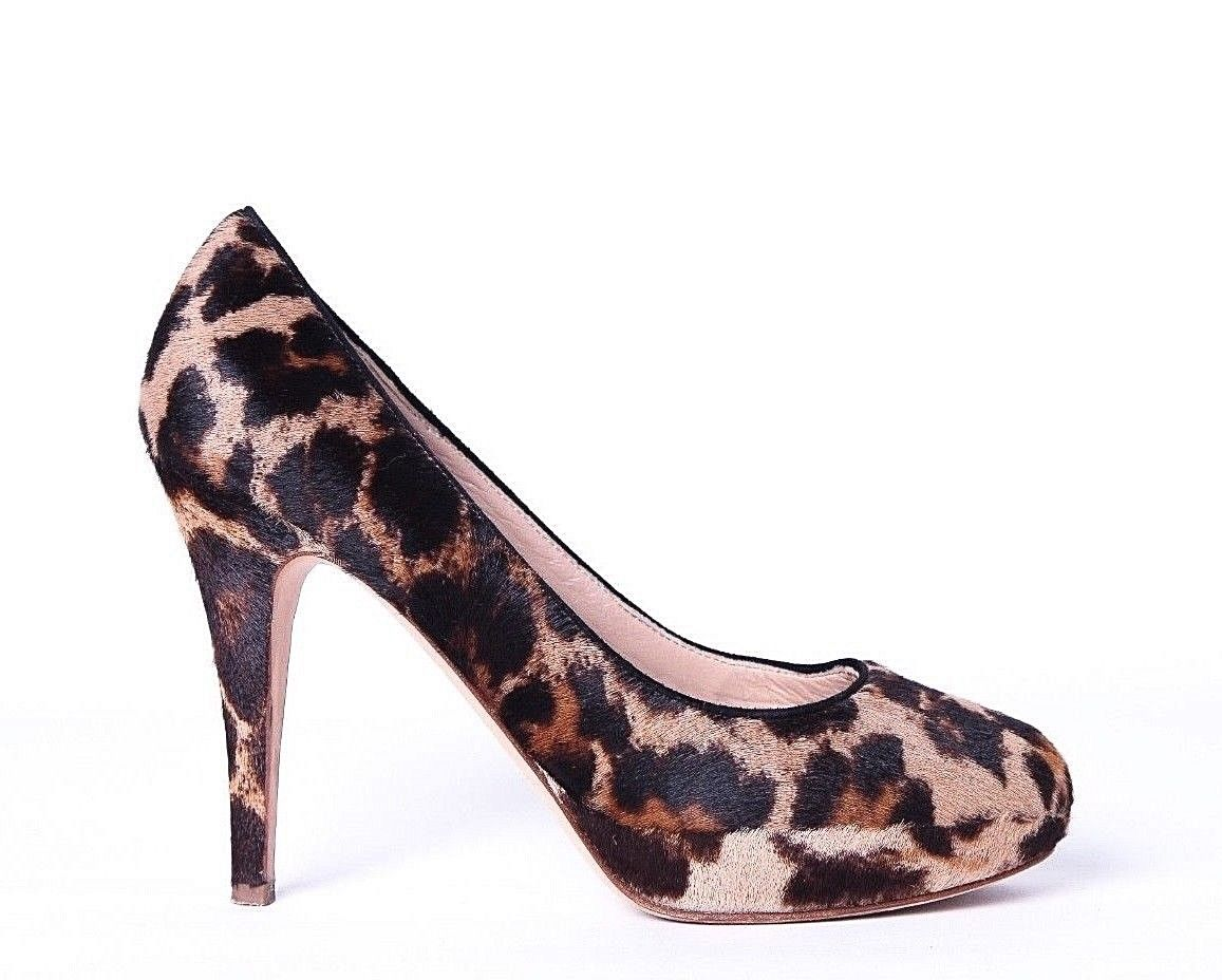 J.CREW Heels 7 Leather Calf Hair Brown Animal Cheetah Print Stiletto Pumps