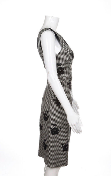 OSCAR DE LA RENTA Dress Gingham Black White Lace Flowers Size 6