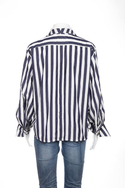 MAX MARA Top 100% Cotton Blue White Stripe