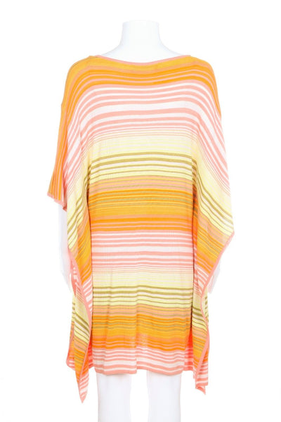 TRINA TURK Dress Orange Striped Tunic Size P